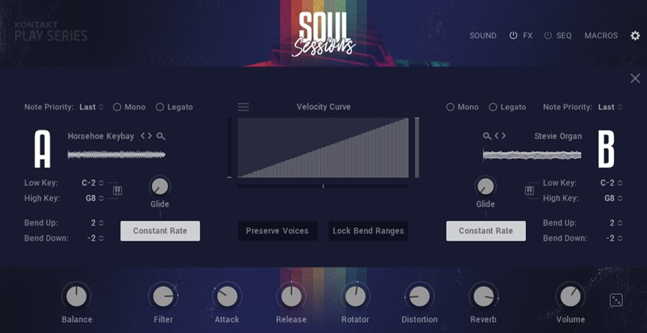 Customize the instrument your way from the Settings page. Edit key ranges, adjust velocity curves, and more.