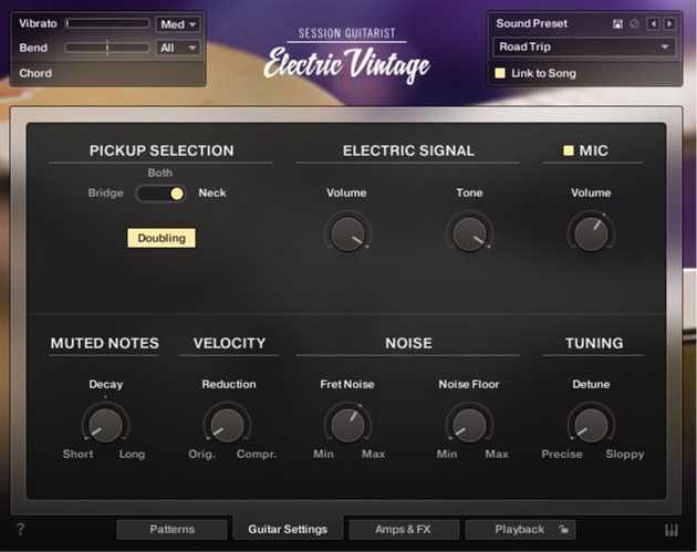 Use the pickup selector, dial in the tone control, and add an additional mic signal for authentic sounding vintage guitar tones.